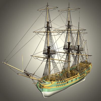 ship naval french 3d model