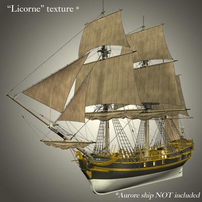 sails aurore ship 3d model