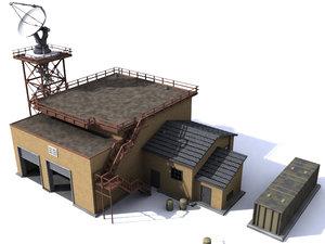 3d model military radar building