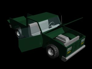 free green pickup truck 3d model