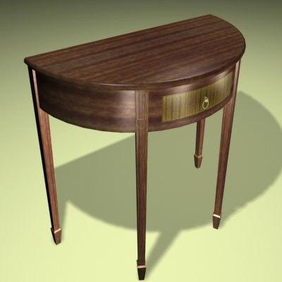semi-circular table 3d model