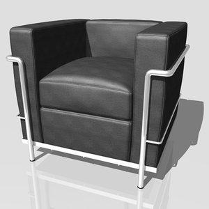 le corbusier lc2 armchair 3d model