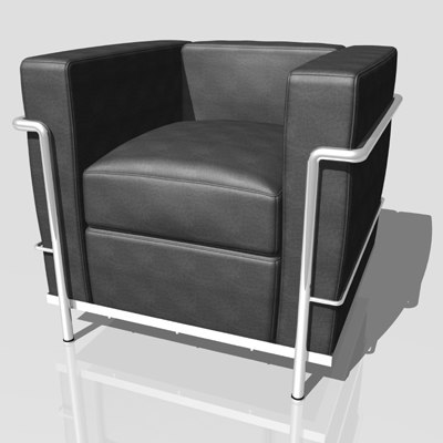 le corbusier lc2 armchair 3d model
