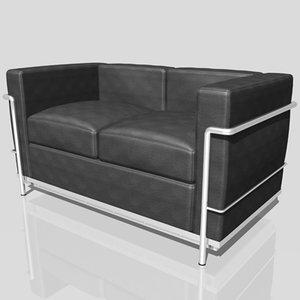 le corbusier lc2 sofa 3ds