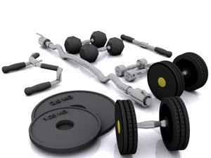 weights dumbbells plates 3d model
