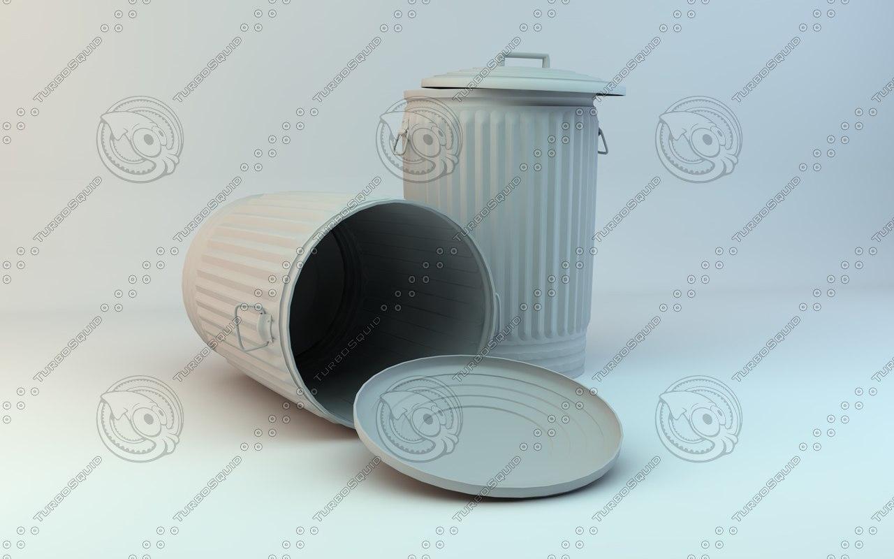 metal trash cans c4d