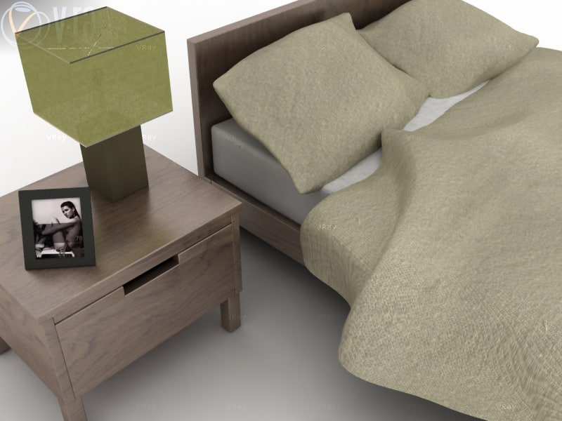 bed contemporary walnut 3d model