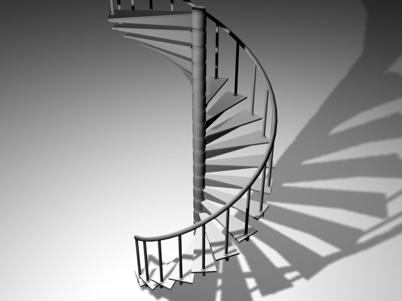 steel spiral staircase 3d max
