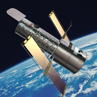 3d hubble telescope satellite model