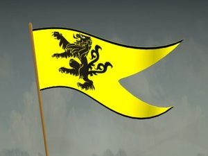 3d model of heraldic pennant flag