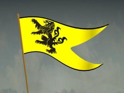 3d model of heraldic pennant flag
