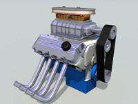 super charged v8 engine 3d model