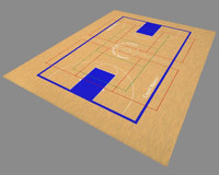 3d model of basketball court gym floor