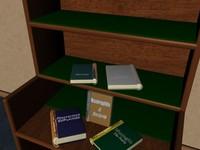 bookcase books 3d 3ds