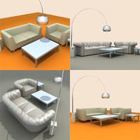 3d model settee set