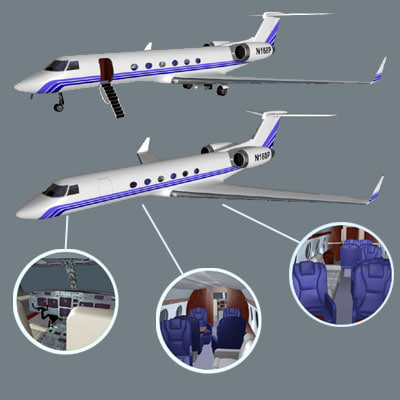 3d model private jet plane pzcorp