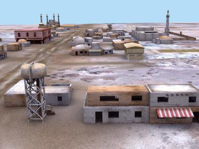 arab building desert town 3d model