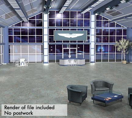 showroom interior cars 3d ma