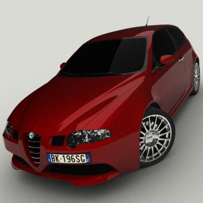alfa romeo 147 gta 3d model