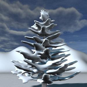 conifer tree snow 3d max