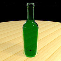 3d model wine bottle glasses