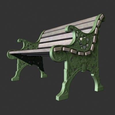 3d model of park bench