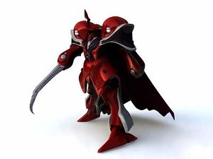 3d medieval knight red leader model