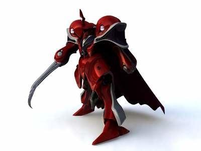 3d medieval knight red leader model