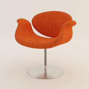 artifort little tulip chair 3d model