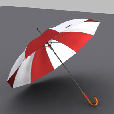red white umbrella animation 3d model