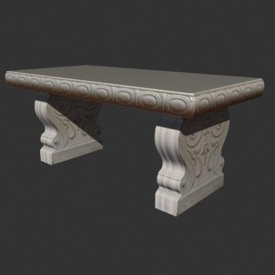3d model concrete park bench