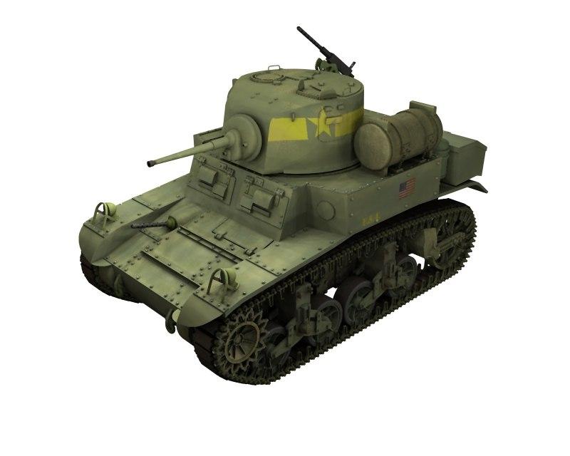3d model m3a1stuartiii