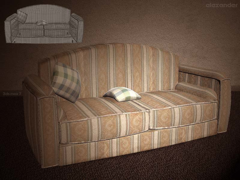 3ds max seater sofa seat