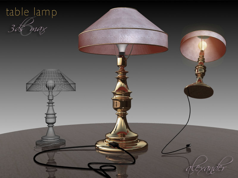 gold lamp table 3d model