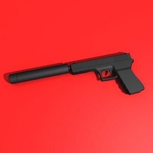 gun silencer 3d model