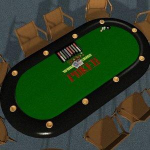 3d model poker table scene complete