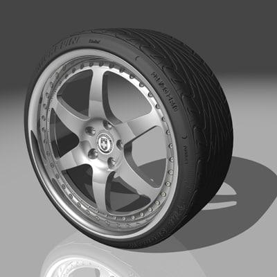 3d model of hre 546r wheel tires
