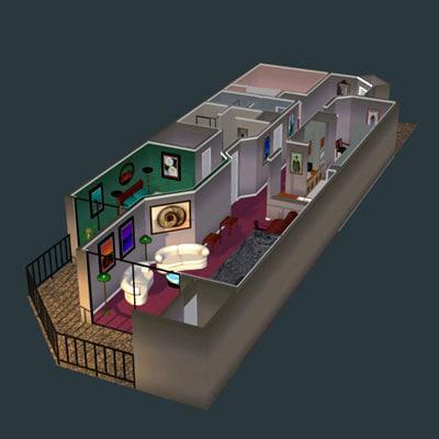 modern condo furniture furnishings 3d model