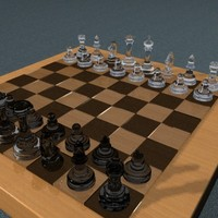 3d model of chess set glass complete