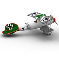 german bi-plane albatros dva 3d max