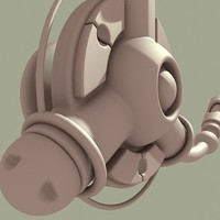 3d model ear phone mini