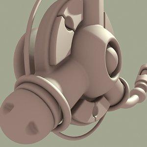3d model ear phone mini