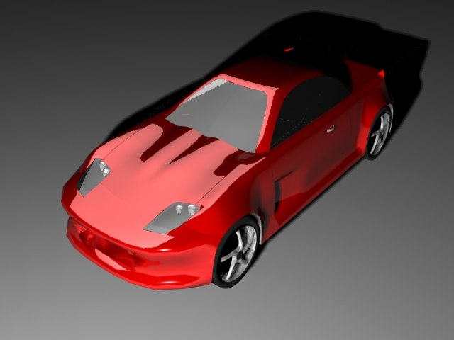 free red sports car 3d model