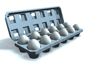 egg-carton eggs 3d model