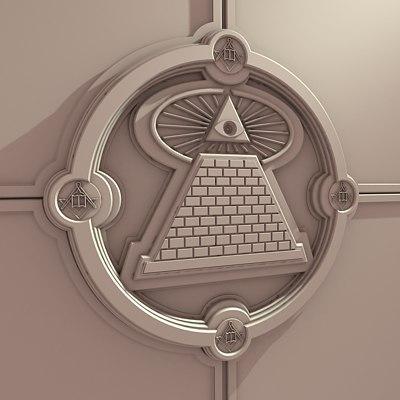 3d wall crest masonic symbols