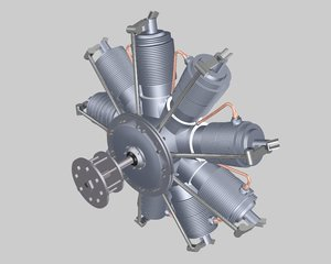 truespace wwi aircraft engine