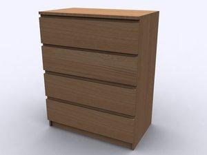 3d model ikea malm chest 4