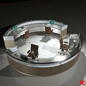 counter desk 3d max