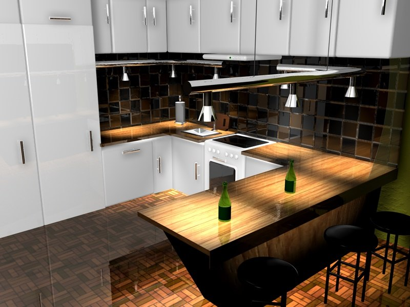 3d model kitchen bar