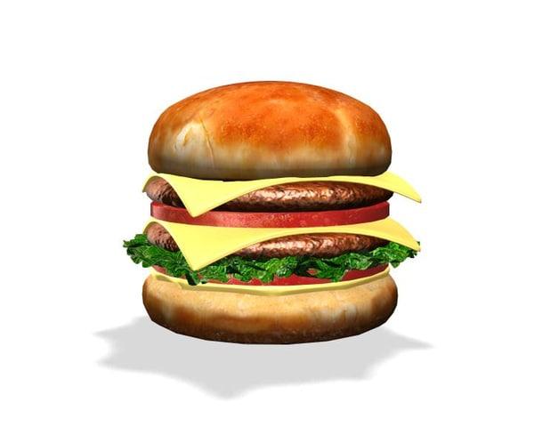 hamburger ham burger 3d model
